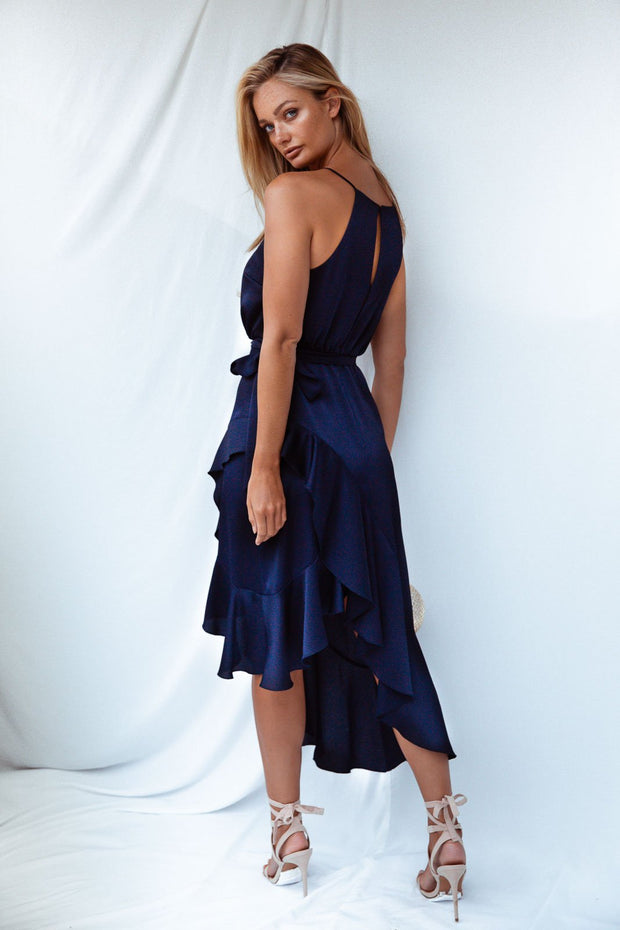 Ariana Navy Satin Halter Frill Dress