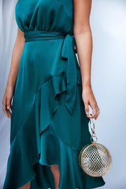 Ariana Teal Satin Halter Frill Dress *As seen on Lucy Meck*