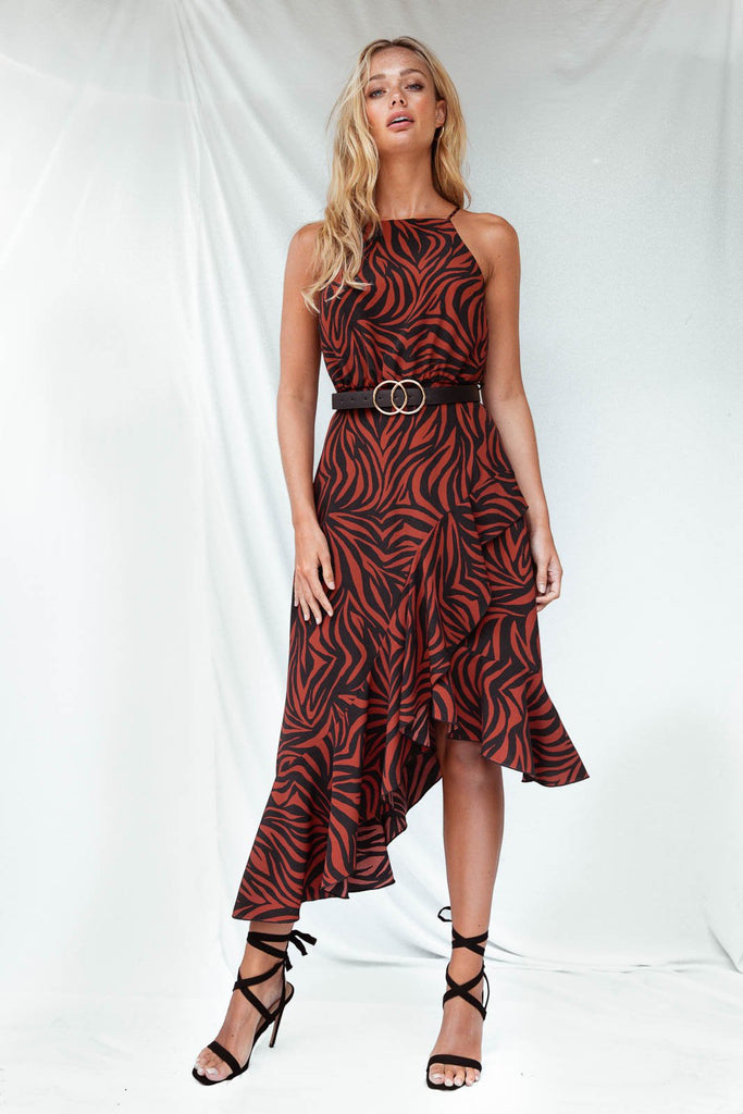 Ariana Halter Zebra Print Dress - Seen On Luisa Zissman