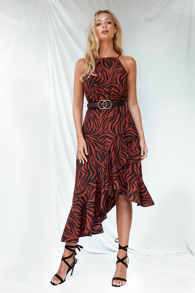 Ariana Zebra Halter Frill Dress *As Seen On Luisa Zissman*