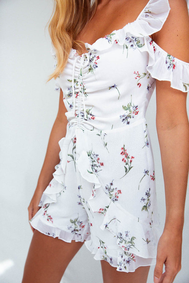 Billie Cold Shoulder Frill Playsuit In Floral