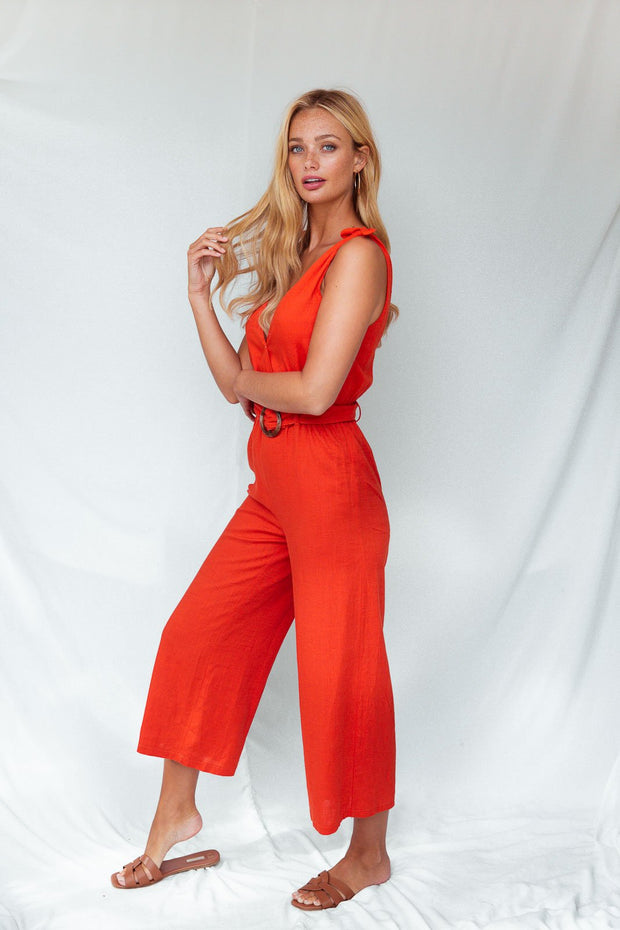 Blair Orange Tie Strap Jumpsuit