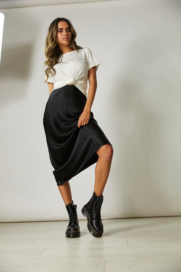 Cara Black Satin Slip Skirt
