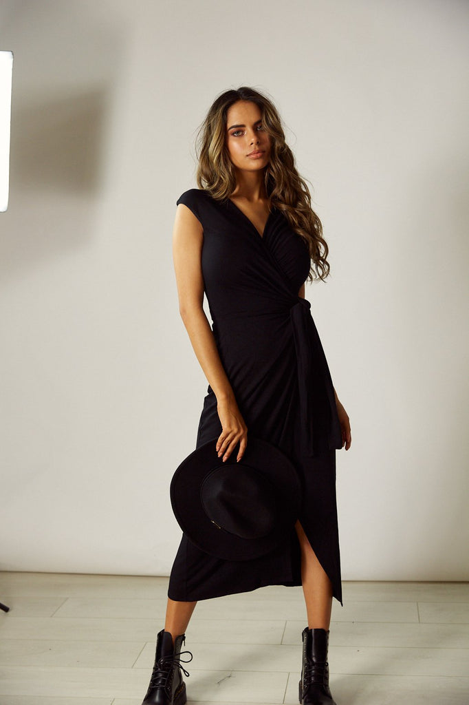 Jenna Black Jersey Wrap Midi Dress