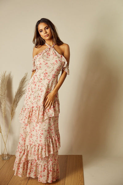 Faye Cold Shoulder Floral Maxi Dress