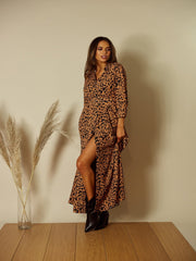 Daphne Animal Print Shirt Dress