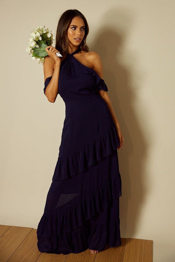 Faye Cold Shoulder Maxi Dress in Navy