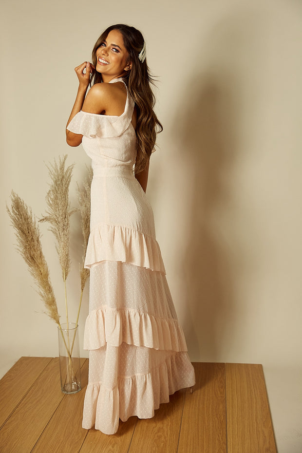 Faye Cold Shoulder Maxi Dress in Blush
