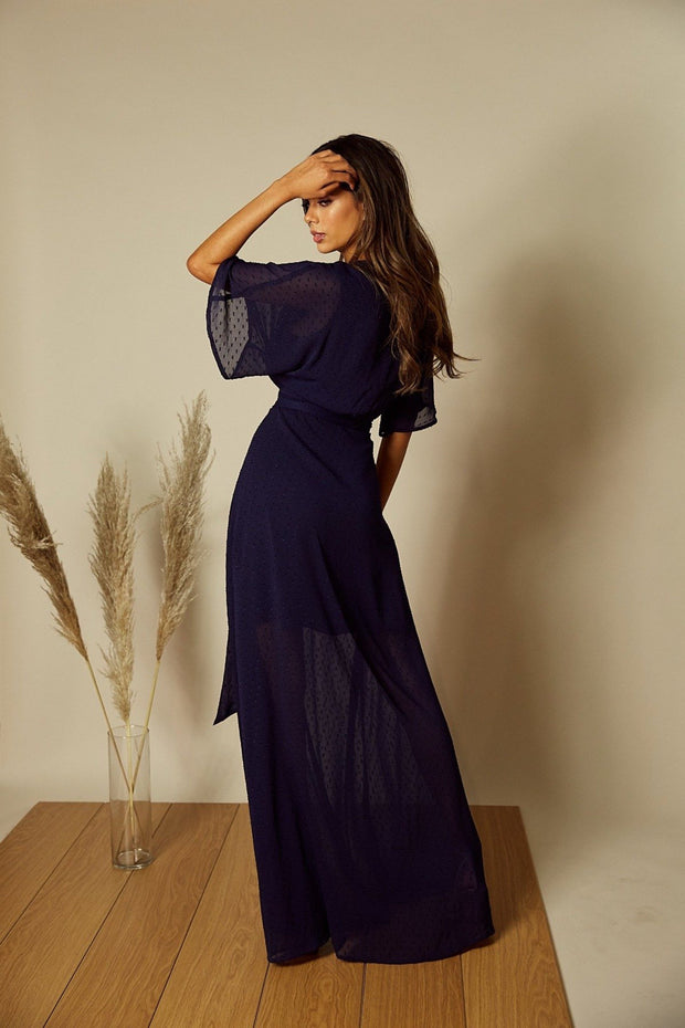 Freddie Angel Sleeve Wrap Maxi Dress in Navy