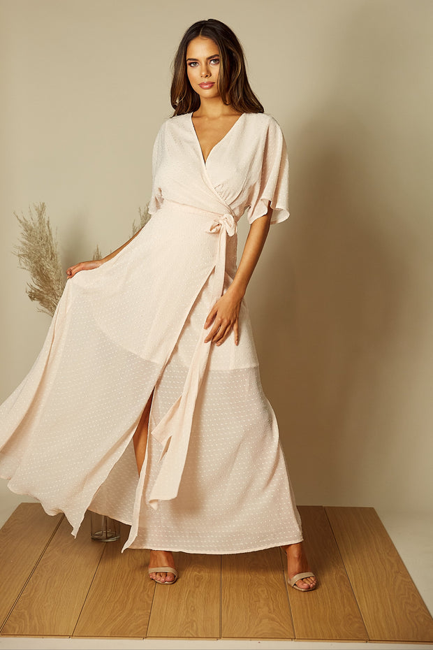 Freddie Angel Sleeve Wrap Maxi Dress in Blush