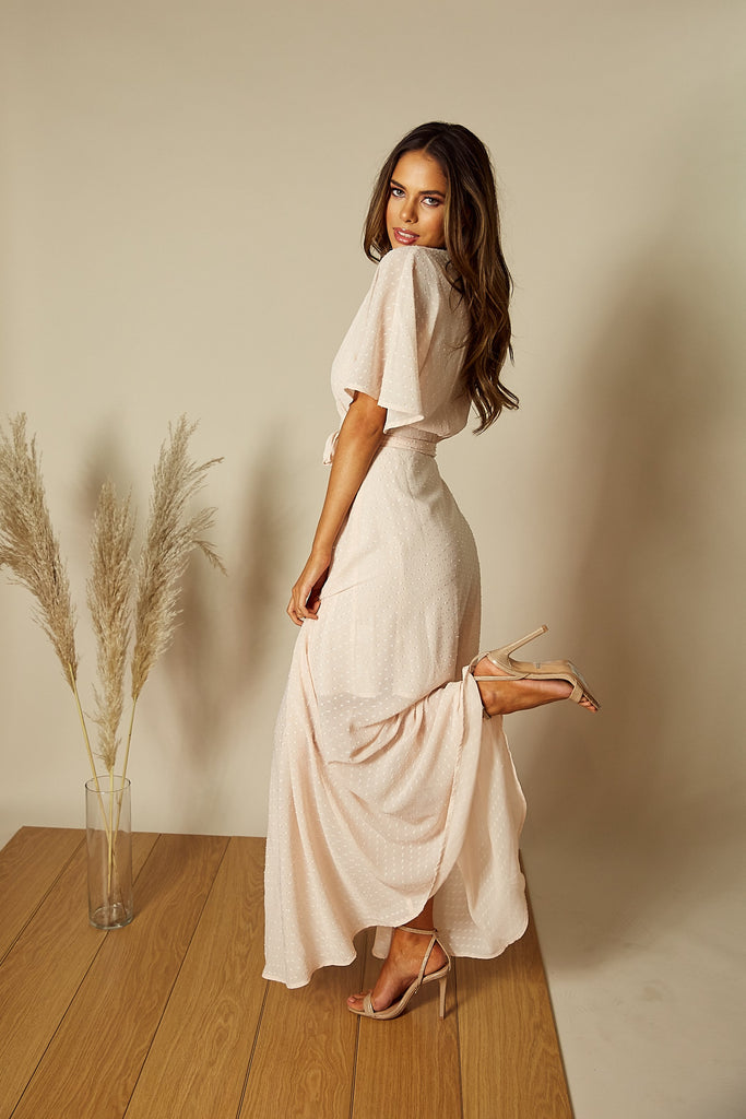 Pink Wrap Maxi Dress | Freddie Angel Sleeve Wrap Maxi Dress