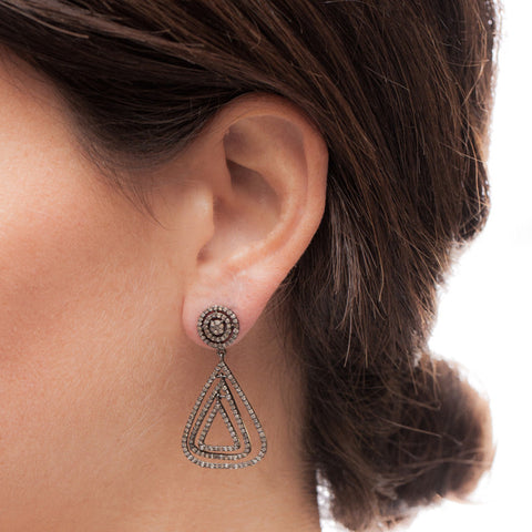 Marquis Diamond Statement Earrings on model