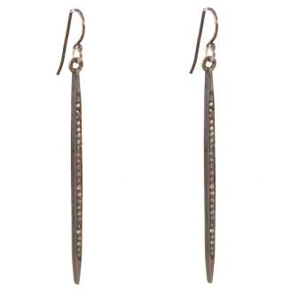 Spike Drop Earrings with Champagne Diamonds in Sterling Silver