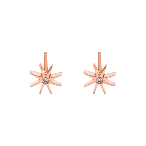 Medium Sunburst Earrings with Diamond in Rose Gold