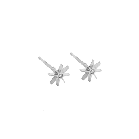 Medium Sunburst Earrings with Diamond Sterling Silver