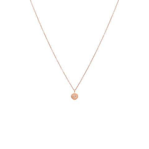 Tiny Evil Eye Diamond Necklace - Rose gold
