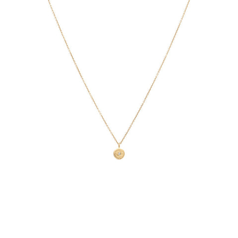 Tiny Evil Eye Diamond Necklace - Yellow gold