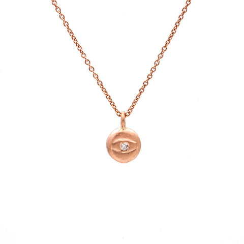 Tiny Evil Eye Diamond Necklace Rose Gold