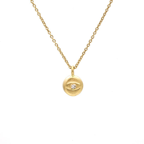 Tiny Evil Eye Diamond Necklace Yellow Gold