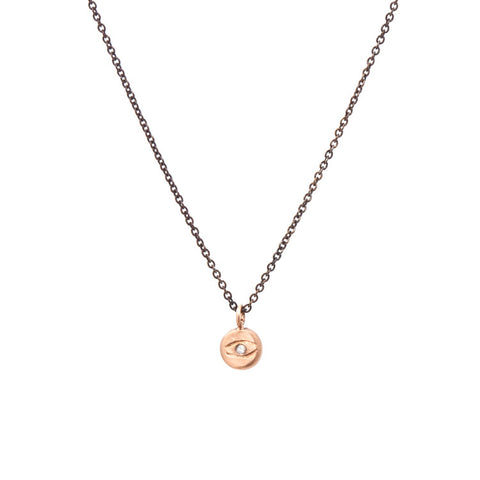 Tiny Evil Eye Diamond Necklace - Oxidized Silver