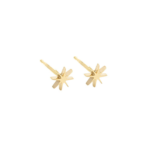 Tiny Sunburst Earrings - Yellow Gold