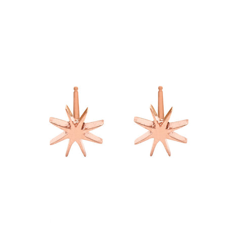 Tiny Sunburst Earrings - Rose Gold