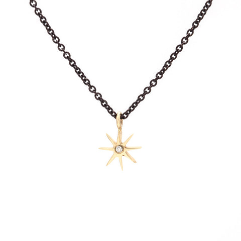 Tiny Sunburst Necklace with Diamond - Oxidized Silver Chain & Yellow Gold Pendant