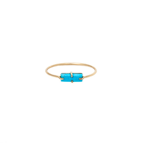 Tiny Turquoise Rectangle Wire Ring