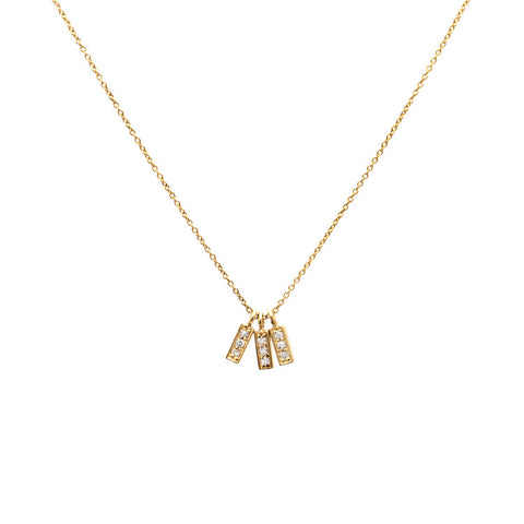 Triple Diamond Bar Charm Pendant