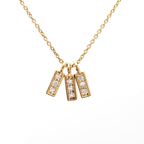 Triple Diamond Bar Charm Pendant close up