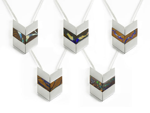 Sterling Silver Chevron Boulder Opal Necklaces