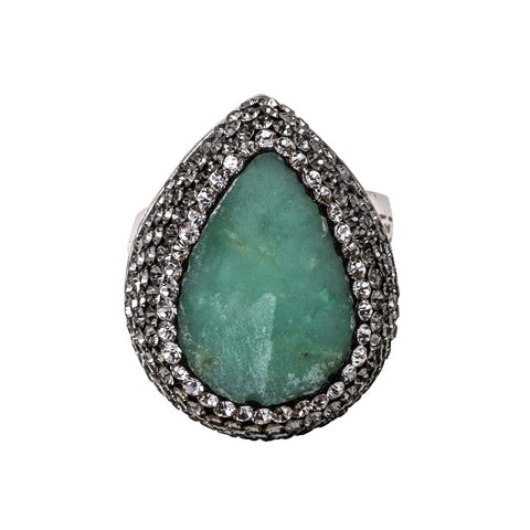 Green Chrysoprase Small Teardrop Shaped Ring