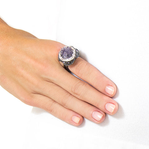 La Costa Amethyst Cocktail Ring on Model