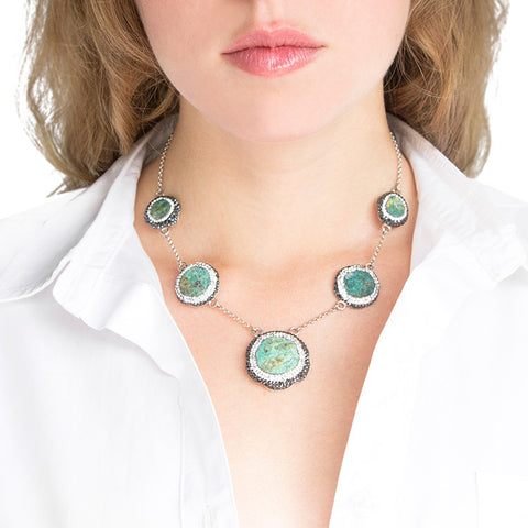 La Costa Chrysocolla 5 Stone Necklace Modeled