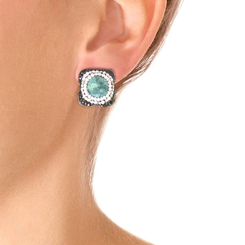 La Costa Chrysocolla Petite Stud Earrings on model