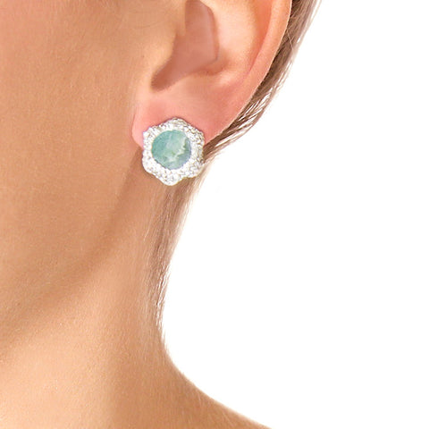 La Costa Emerald Petite Studs on model