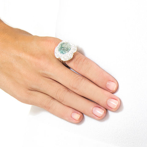 La Costa Emerald Cocktail Ring Modeled