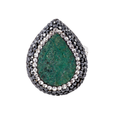 Chrysocolla Small Teardrop Shaped Ring