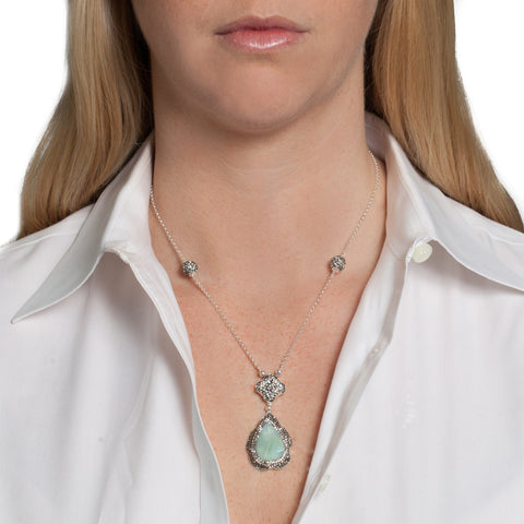Green Opal Teardrop Necklace on model