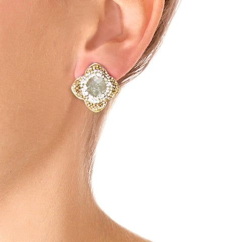 La Costa Green Quartz Petite Studs on Model