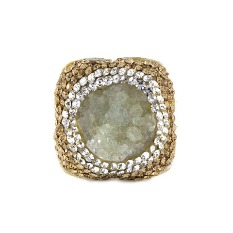La Costa Green Quartz Square Cocktail Ring