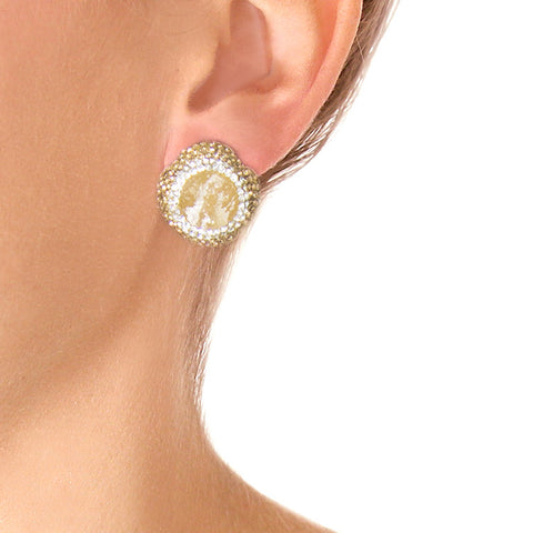 La Costa Orange Calcite Small Stud Earrings on model