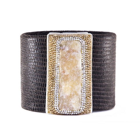 La Costa Orange Calcite Wide Leather Cuff