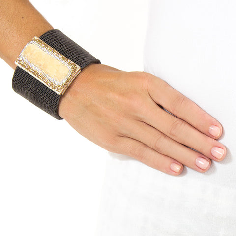 La Costa Orange Calcite Wide Leather Cuff on model