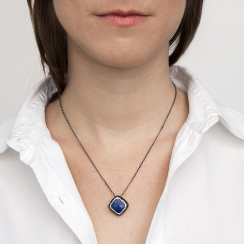 Blue Lapis Square Necklace on model