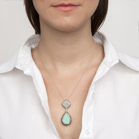 Green Chrysoprase Two-Part Teardrop Necklace on model