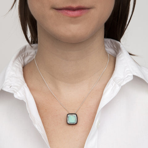 Green Chrysoprase Square Necklace on model