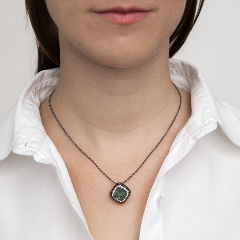 Emerald Square Necklace on model