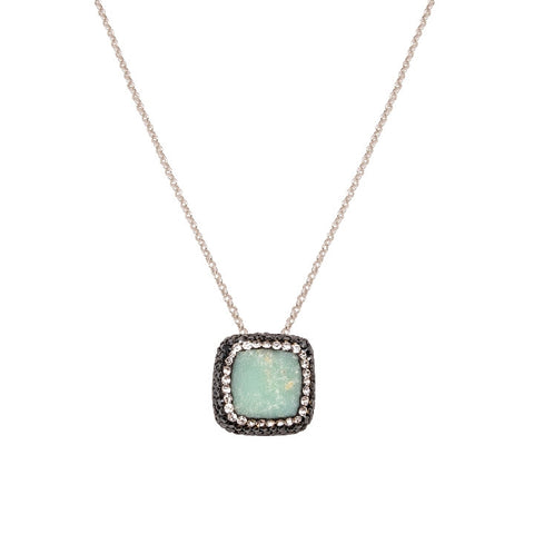 Green Chrysoprase Square Necklace
