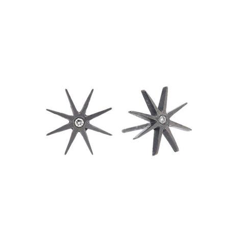 Medium Sunburst Earrings in Blackened Sterling Silver